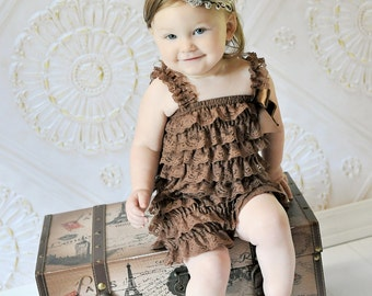 Chocolate Brown Lace Petti Romper for Baby Girls and Toddlers...Brown Ruffle Romper, Brown Lace Romper