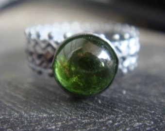 Green Tourmaline Crown Ring Oxidized Silver