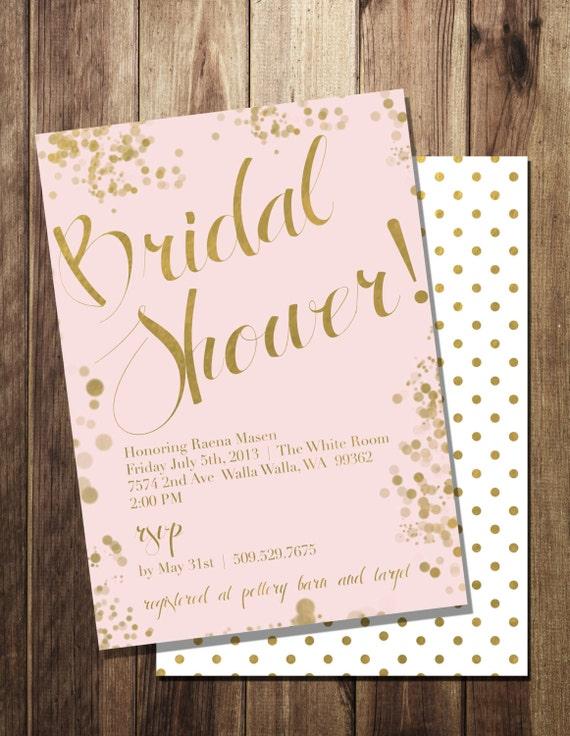 items similar to blush pink amp gold foil bridal shower