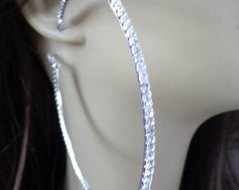 Large 3 inch Hoop Earrings Classic Thin Rhinestone Crystal Hoop Earrings Silver tone HOOPS