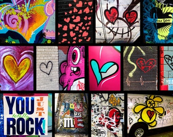 "NYC Street Art ""Love"" Valentine's Day Horizontal Collage, 8x10"