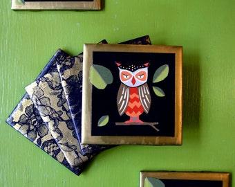 Owl and Lace Coaster Set _ Set of 6