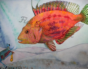 Watercolor Fish Art Rooster Wrasse Rainbow Tropical Fish Painting High Quality Print by Chris Turnier
