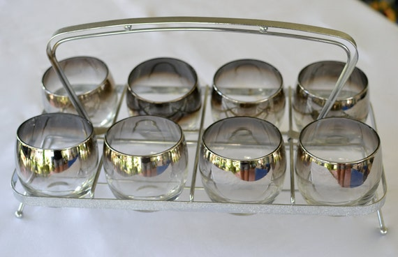 Mad Men - 8 Silver Dorothy Thorpe Glasses with Silver Caddy