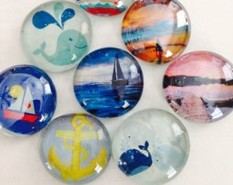Glass magnets. Nautical glass magnet set. Whale magnets, sailboat magnets,anchor magnets and more