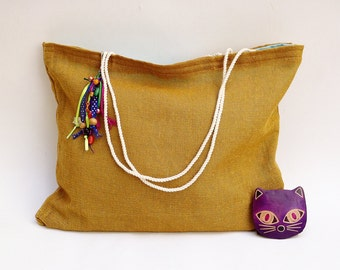 Jute tote + braided cotton rope straps + fun keychain / mexican style purse / cancun beach wedding