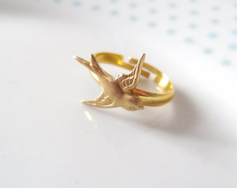 Swallow Gold Band Adjustable Ring, Bird, Sparrow, Dainty, Pretty, Simple, Minimalist, Nature, Animal