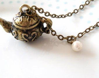 Bronze Locket / Trinket Teapot Tea 3D Charm & Pearl LONG Necklace, Tea Party, Retro, Vintage Style, Pretty