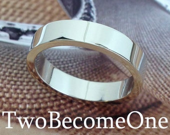 4mm Ladies 18k White Gold Flat Shape Handmade Wedding Ring / Band / 5.9g