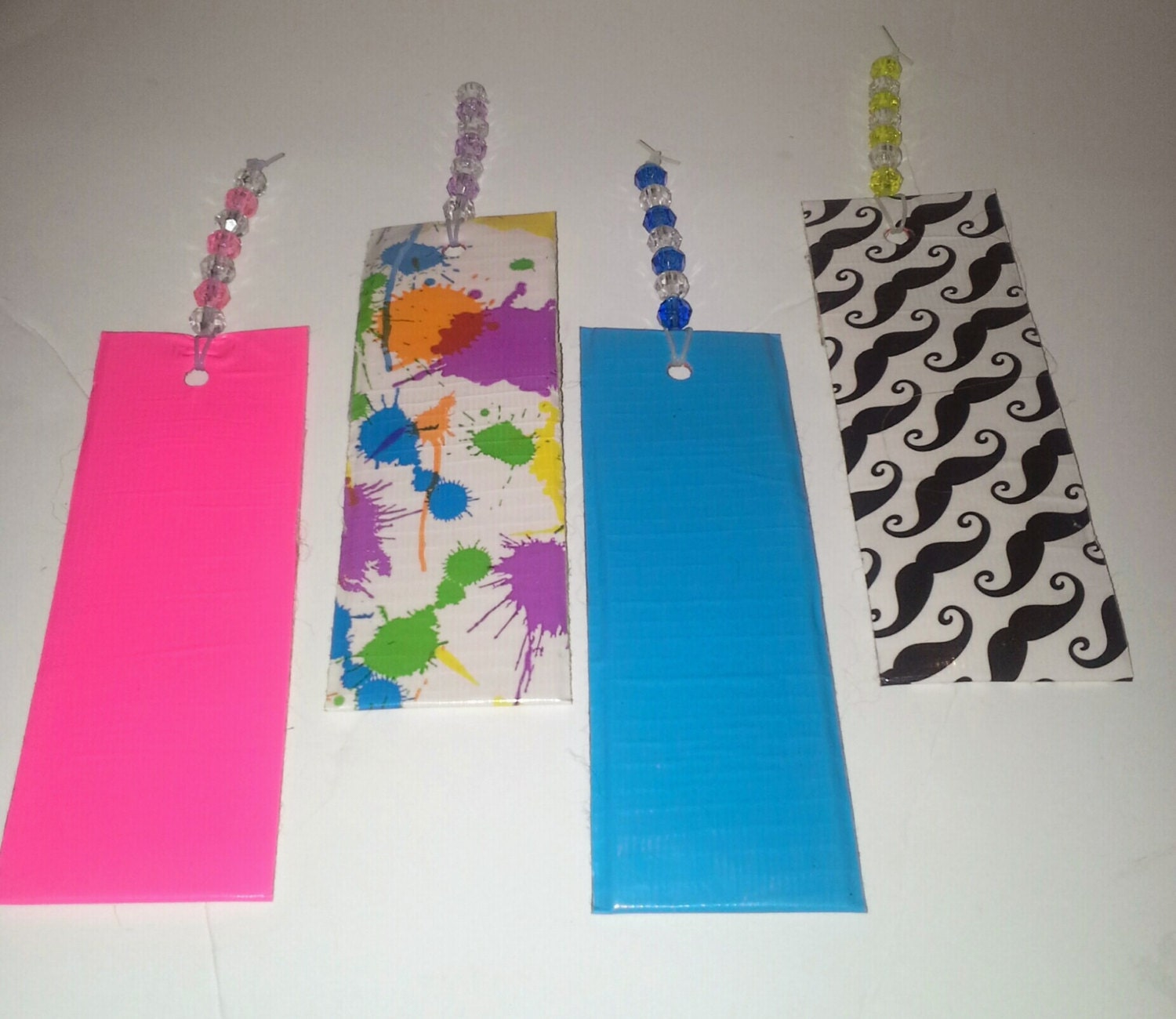 Beaded handmade duct tape kids bookmarks by for Duct tape bookmark ideas