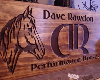 Personalized Wooden Signs Western Rustic Carved Wood Logo Signs with Horse Silhouette Great Gift Idea Wooden wall art Ranch Primitive Decor