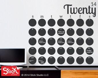 JUMBO Calendar Wall Decal - Chalkboard Calendar Decal - Blackboard Wall Calendar Sticker - Modern Chalkboard Calendar Wall Decal - 094