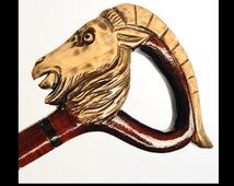 Walking Stick Cane RAM Perfect Hand Carved Wooden wood handcarved crafted (about 40 kinds of canes in store!)