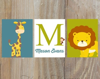 JUNGLE NURSERY ART - Safari Nursery art, Jungle Nursery decor, Custom playroom art, Playroom wall art, Safari art, jungle art