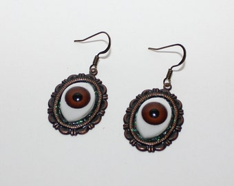 Evil eye protection brown eye earrings