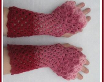 Crochet Arm Wrist Warmers, winter Crochet Cuffs,  Spring  Accessorie., Crocodile Stitch mittens,  Fingerless gloves, Women