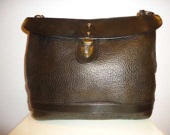 Must See Beautiful Vintage Dk.Gray/Pewter Leather Shoulder Bag  (10% Off Coupon at Checkout)
