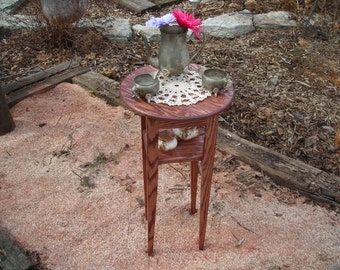 Handcrafted, Round Accent Table/Plant Stand