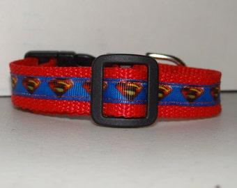 "3/4"" Dog Collar *SUPER Hero * Xsmall, Small * Adjustable Buckle Collar"