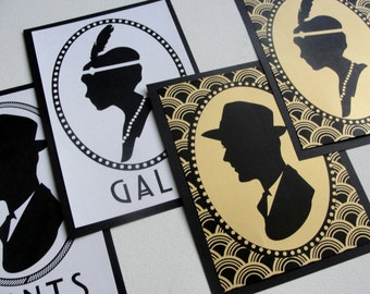"""Bathroom Signs Set of 2 / """"Deco Scallop"""" Cameo Silhouette / Choose Color / 5x7 / Wedding / Great Gatsby 1920s / Pattern / Paper Sign"""