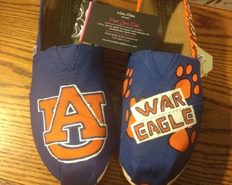 Hand Painted Auburn University Toms- NOTE: Personalized to any design, college, or character(s) you want