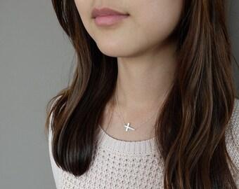 Teresa (Silver - medium) - minimalist sideways cross sterling silver necklace