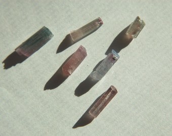 6 Bicolor Tourmaline crystals - Natural crystals - XLNT Clarity - 8.42 ct. - great Colors - lots of Pink - from Afghanistan