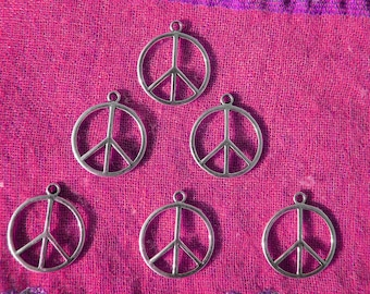 6 Large Peace Charms