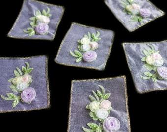 Pastel Floral Rosettes Organza Applique Squares