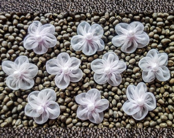 Small Sheer Gathered Soft Lavender Ribbon Flowers with Pearl Centers