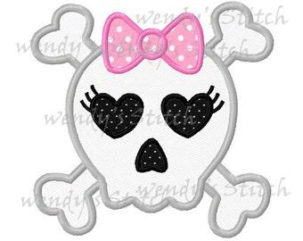 Girl skull applique machine embroidery design