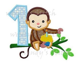 Monkey boy 1st birthday cupcake applique machine embroidery design instant download