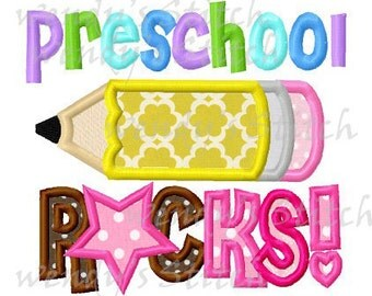 preschool rocks pencil applique machine embroidery design digital pattern