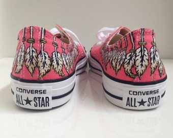Customized Converse sneakers feather design