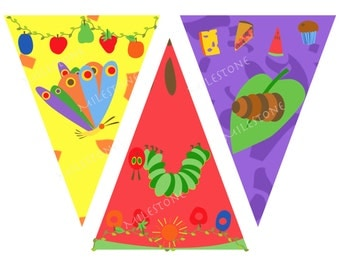 Caterpillar Banner Pennants for Instant Download
