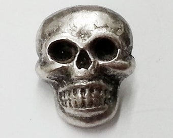 12mm Metal Skull Button with Shank by 2 pcs,  Silver, TR-11145B