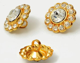 16mm Crystal Rhinestone Button with Shank by each, Crystla/Gold,  ROI-RB533