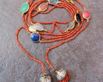 CARNELIAN LARIAT/ BRONZE end caps and Mixed Semi Precious charms,gorgeous!!!