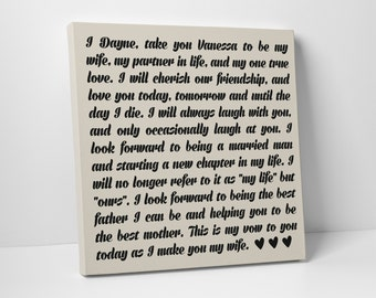 Wedding Sign, Canvas Wall Art, Your Wedding Vows