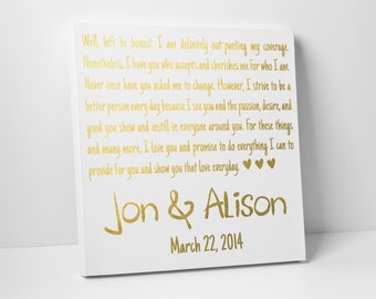 Wedding Vow Art, Gold Foil