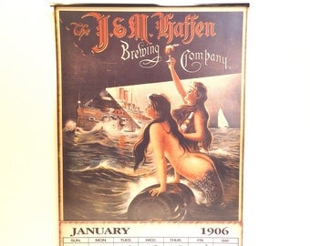 1906 Advertising Calendar J & M Haffen Brewing Co Collectible