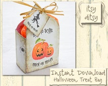 Halloween treat bag Digital printable Halloween treat box/ party bag -DIY halloween favors, Halloween crafts for your children or friends!