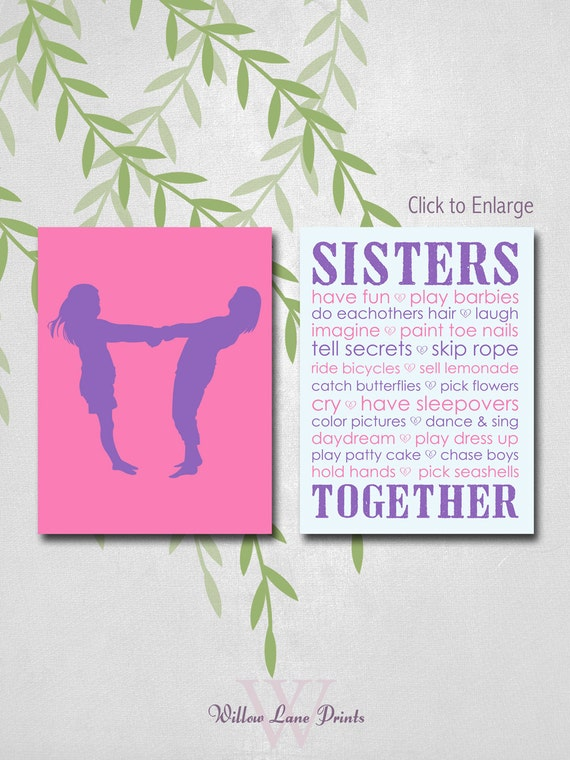 Twin Girls Room Decor Sisters Wall Art For 2 By