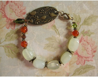 Nature Inspired Bracelet with Birds, Jade and Carnelian (#295)