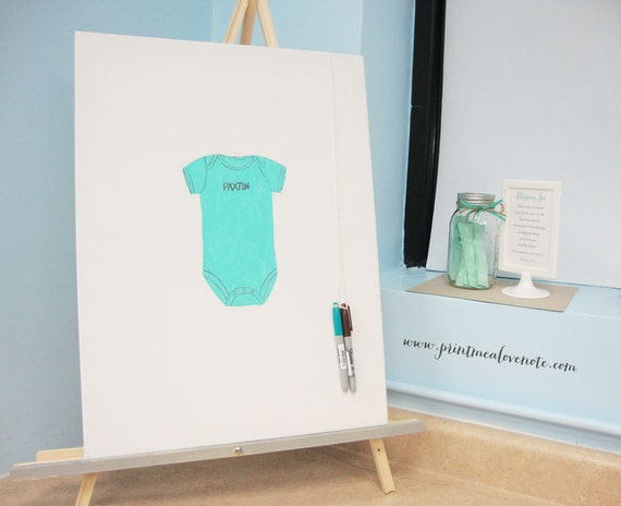 Baby Shower Guest Book Canvas ~ Baby shower onesie canvas guest book hand painted and
