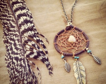 DreaMCatcher necklace native style BeautiFUL magic, full inspiration Macrame necklace with brass feathers. TRIBAL Jewelry. bohemian