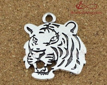 10 PCs, Tiger Head, Tiger, Tiger Pendant, Tiger Charm, Animal Charm, Antique Silver, Bronze, DIY Supplies, Jewelry Making, Findings, 24*27MM