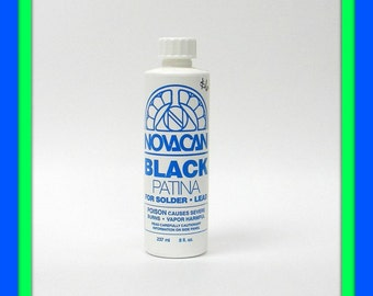 8 oz Black Patina by Novacan, Change Silver Solder Lines To Antique Black, For Stained Glass