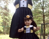 Great Gatsby 1920's Style/Girls & Doll Tuxedo Wedding/Formal Wear Dress/Matching Mini Top Hats Avail/Flapper Headbands Avail/2T-5T