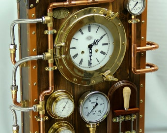 wall clock industrial steampunk old and vintage style